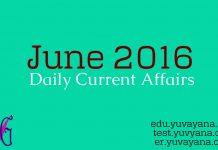 June 2016 current affairs update